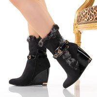 EXCLUSIVE ANKLE BOOTS SHOES WITH ARTIFICIAL FUR BLACK