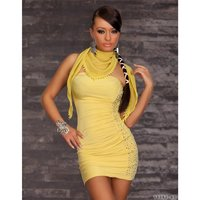 SEXY BANDEAU DRESS MINIDRESS WITH SCARF YELLOW