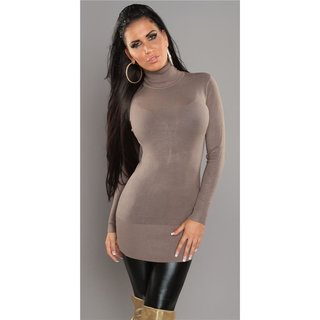 bd408b909bb ... SEXY KNITTED TURTLE NECK MINIDRESS LONG SWEATER CAPPUCCINO ...