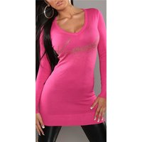 Sexy knitted mini dress/long sweater with rivets fuchsia