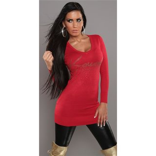 Sexy knitted mini dress/long sweater with rivets red