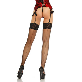 Sexy seamed suspender stockings with lace black