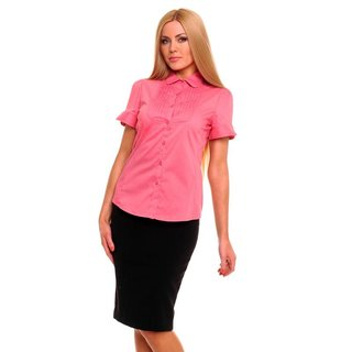 Elegant short-sleeved blouse with drapes salmon