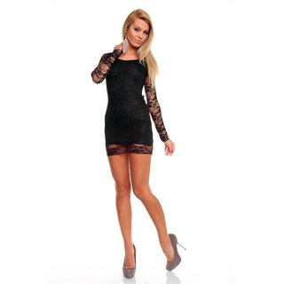 ELEGANT EVENING DRESS MINIDRESS MADE OF LACE BLACK