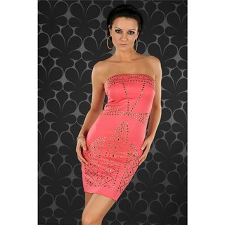 SEXY BANDEAU DRESS EVENING DRESS MINIDRESS WITH RIVETS CORAL