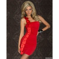ELEGANTES ONE-SHOULDER MINIKLEID MIT SATIN ROT