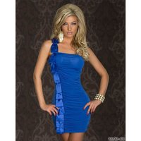 Elegant one-shoulder mini dress with satin blue