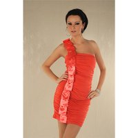 ELEGANTES ONE-SHOULDER MINIKLEID MIT SATIN LACHS