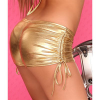 SEXY HOTPANTS GOGO CLUBWEAR METALLIC-LOOK GOLD