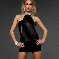 ELEGANT HALTERNECK MINIDRESS PARTY DRESS BLACK/SILVER