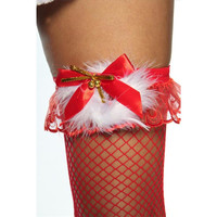 SEXY SUSPENDER FISHNET STOCKINGS CHRISTMAS MARABOU PLUMES...