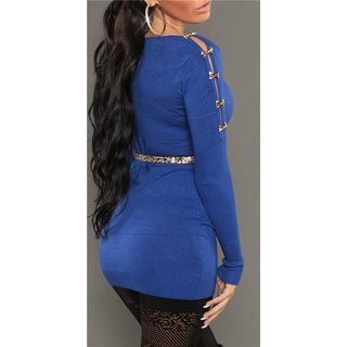 Sexy knitted mini dress with belt loops leopard look royal blue