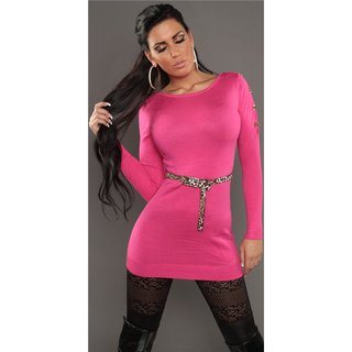 Sexy knitted mini dress with belt loops leopard look fuchsia