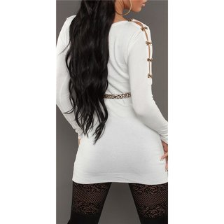 SEXY KNITTED MINIDRESS WITH BELT LOOPS LEOPARD LOOK WHITE