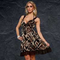 ELEGANT EVENING DRESS LEOPARD LOOK BEIGE/BROWN