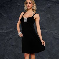 SEXY STRAP DRESS MINIDRESS WITH GLITTER RIBBON BLACK