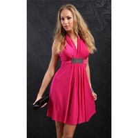 ELEGANT EVENING DRESS RHINESTONE-LOOK WITH DRAPES FUCHSIA