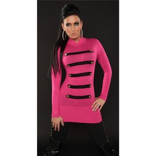 ELEGANT FINE-KNITTED SWEATER IN MILITARY-LOOK FUCHSIA