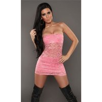 Sexy party bandeau mini dress made of lace salmon