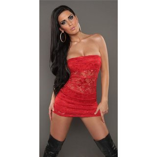 SEXY PARTY BANDEAU MINIDRESS MADE OF LACE RED