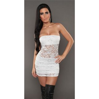 SEXY PARTY BANDEAU MINIDRESS MADE OF LACE WHITE
