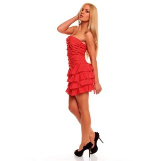 SEXY BANDEAU DRESS MINIDRESS WITH FLOUNCES RED