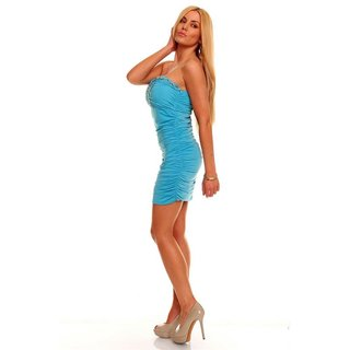 Sexy bandeau mini dress with rhinestones turquoise
