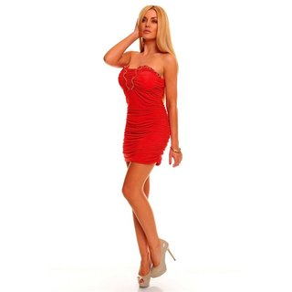SEXY BANDEAU MINIDRESS WITH RHINESTONES RED