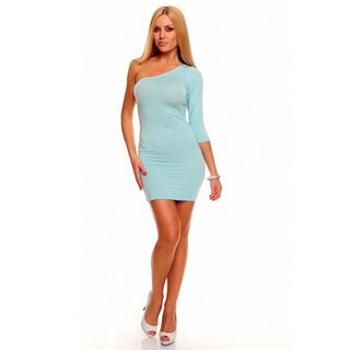 SEXY ONE-ARMED MINIDRESS CLUBWEAR AQUA