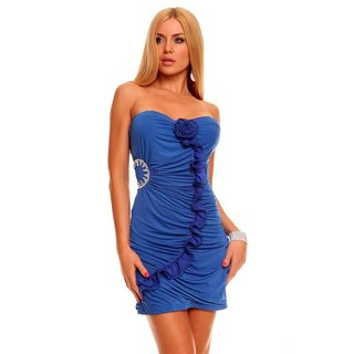 SEXY BANDEAU EVENING DRESS MINIDRESS RHINESTONES ROYAL BLUE