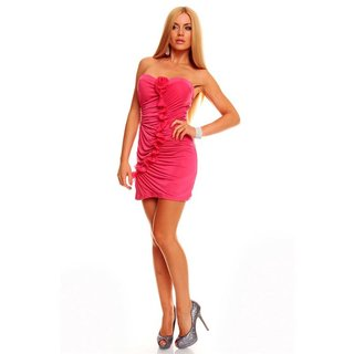 SEXY BANDEAU EVENING DRESS MINIDRESS RHINESTONES FUCHSIA