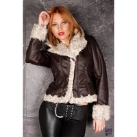 EXCLUSIVE JACKET IN LEATHER-LOOK WITH FAKE FUR DARK...
