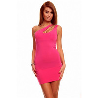 SEXY ONE-SHOULDER MINIDRESS GOGO CLUBWEAR FUCHSIA