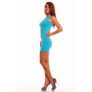 SEXY ONE-SHOULDER KLEID MINIKLEID GOGO CLUBWEAR TÜRKIS