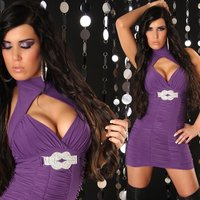 Precious glamour mini dress with rhinestones purple