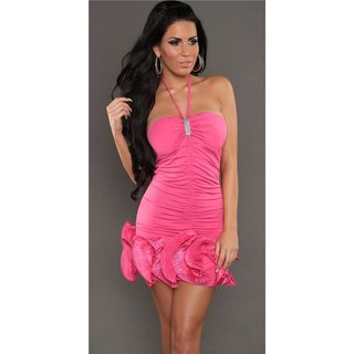 ELEGANT PARTY EVENING DRESS MINIDRESS WITH FRILLS FUCHSIA