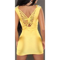 Sexy glamour mini dress party dress with rhinestones yellow