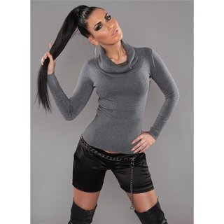 Precious fine-knitted polo-neck sweater with glitter grey