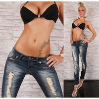 SEXY DESTROYED RÖHRENJEANS MIT STRASS CRASH-LOOK BLAU