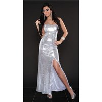 GLAMOUR SEQUINED DRESS BANDEAU EVENING DRESS WHITE/SILVER