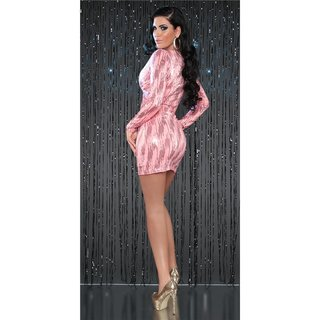 SEXY LANGARM MINIKLEID PARTY KLEID MIT PAILLETTEN CORAL