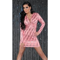 SEXY LONG-SLEEVED PARTY DRESS MINIDRESS WITH SEQUINS CORAL