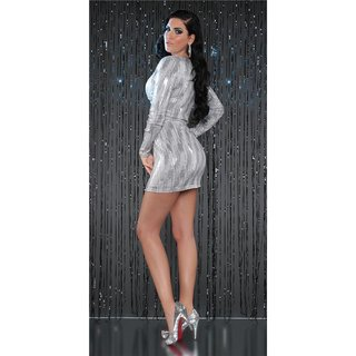 SEXY LONG-SLEEVED PARTY DRESS MINIDRESS WITH SEQUINS GREY