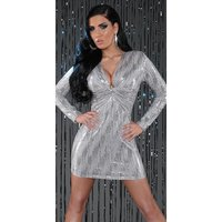 SEXY LANGARM MINIKLEID PARTY KLEID MIT PAILLETTEN GRAU