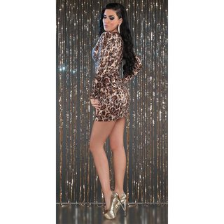 SEXY LANGARM MINIKLEID PARTY KLEID MIT PAILLETTEN LEOPARD-OPTIK
