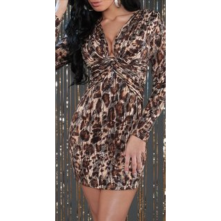Sexy long-sleeved party dress mini dress with sequins leopard look