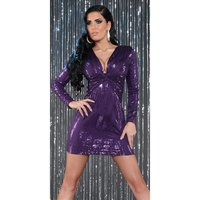 SEXY LONG-SLEEVED PARTY DRESS MINIDRESS WITH SEQUINS PURPLE