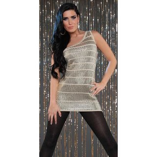 SEXY KNITTED ONE-SHOULDER MINIDRESS WITH SEQUINS PARTY BEIGE