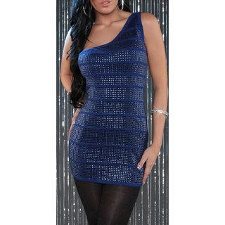 SEXY KNITTED ONE-SHOULDER MINIDRESS WITH SEQUINS PARTY BLUE