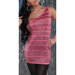 SEXY KNITTED ONE-SHOULDER MINIDRESS WITH SEQUINS PARTY CORAL